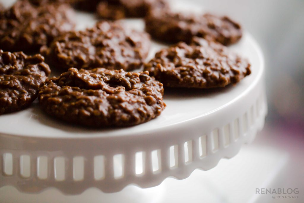 Cocoa peanut butter no-bake cookies for Valentine's Day